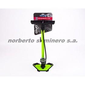 inflador de pie GIYO verde acero d/valvula c/manometro VERDE GF-6325