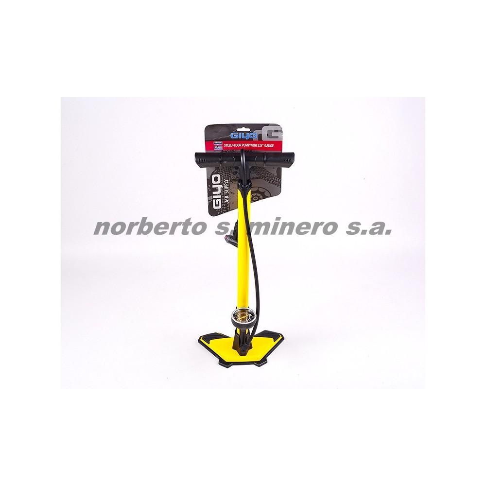 Inflador de pie GIYO amarillo acero d/valvula c/manometro GF-6325