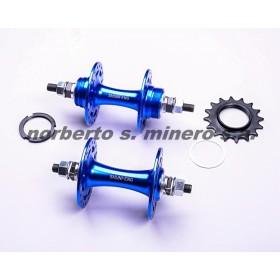 Par de mazas FIXIE 36a aluminio azul